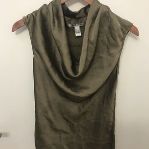 Mango green blouse with satin sheen - like new